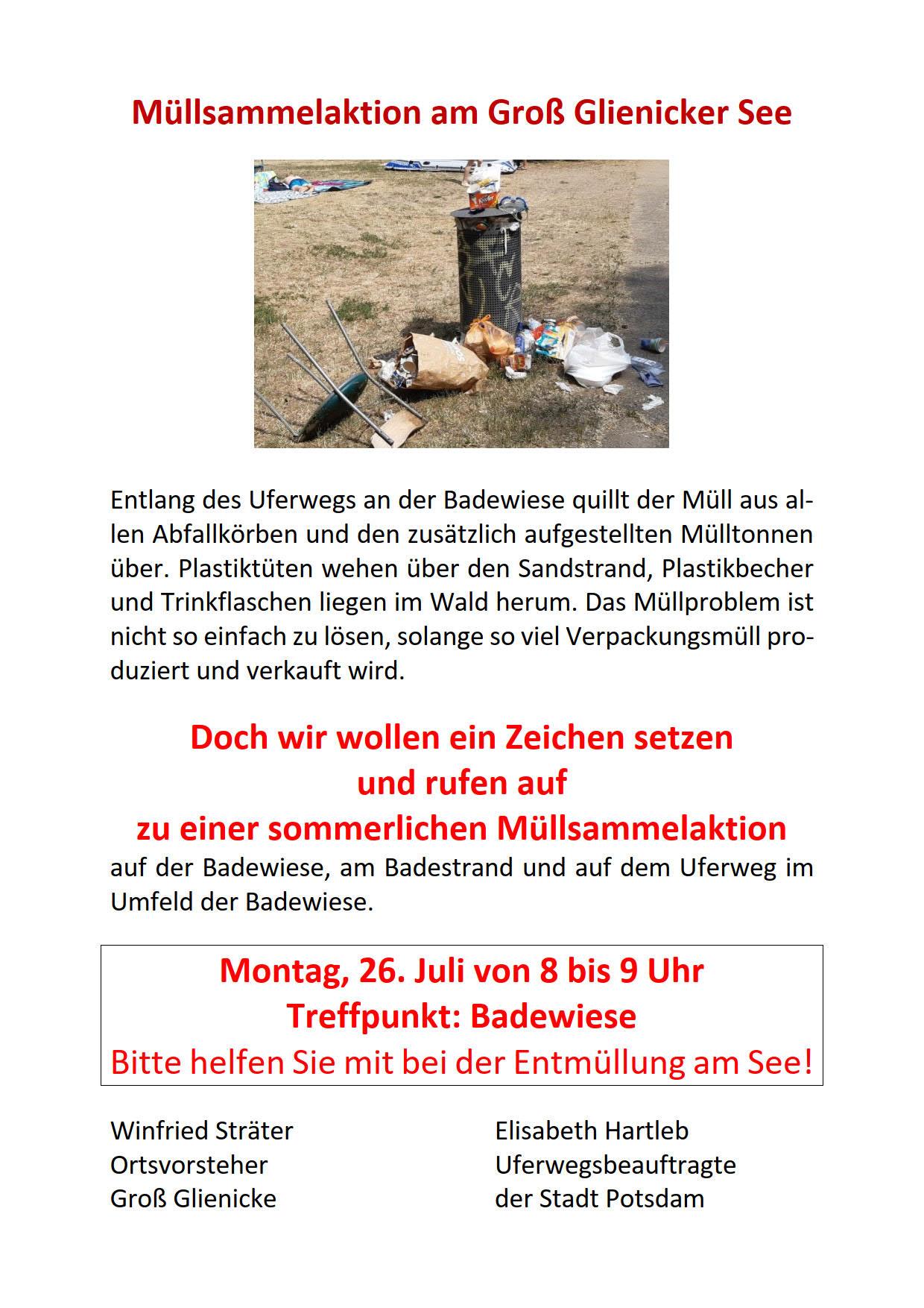 Müllsammelaktion Groß Glienicker See 26.07.2021